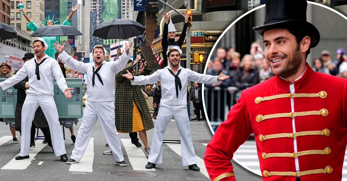 Zac Efron y Hugh Jackman detienen el tráfico en Nueva York con un increíble show