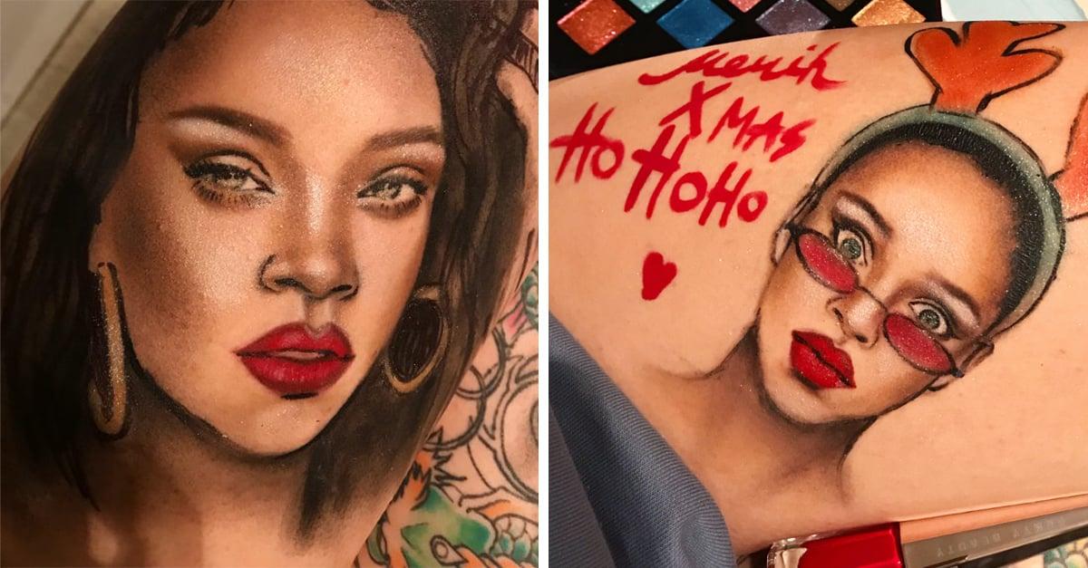 sta artista usó la línea Fenty de Rihanna para dibujar sobre su piel