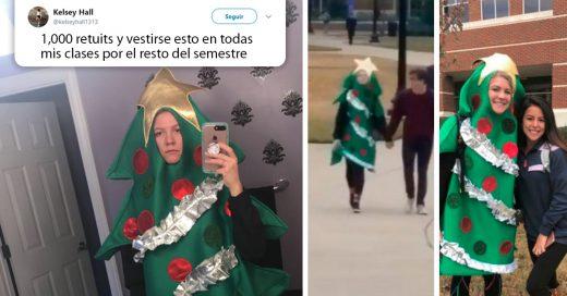 estudiante fue a la escuela disfrazada de pino de navidad por el resto del semestre