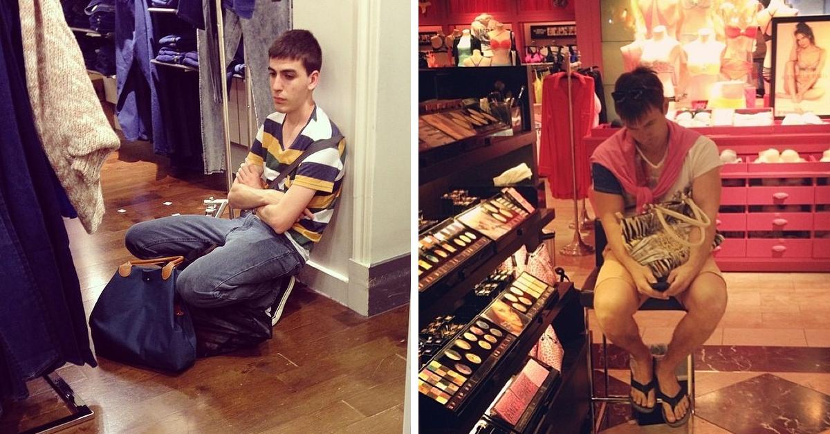 Fotos que muestran lo mucho que odian los hombres ir de compras