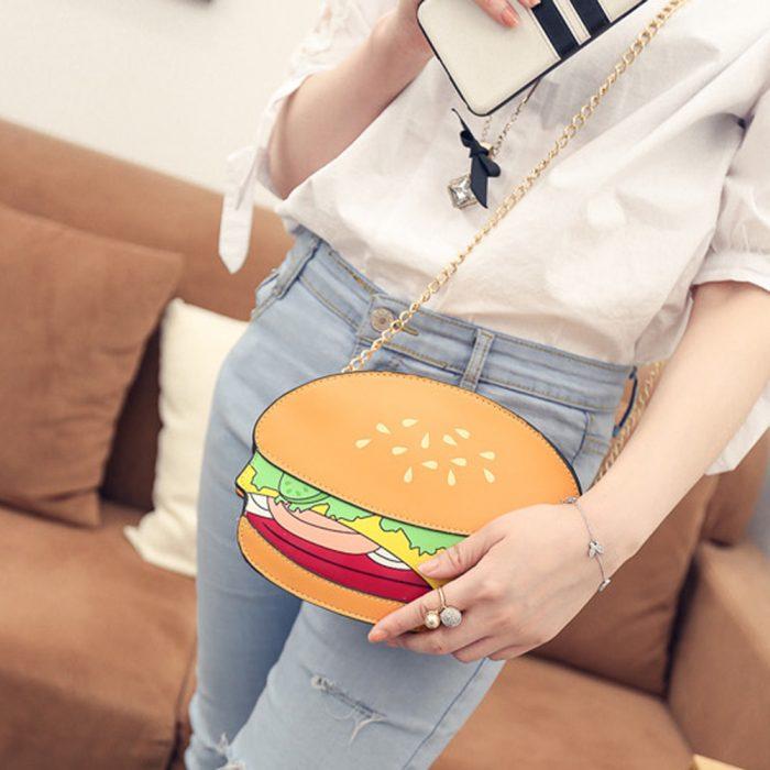 bolso en forma de hamburguesa