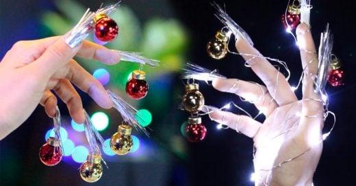 La nueva tendencia en uñas navideñas con esferas miniatura