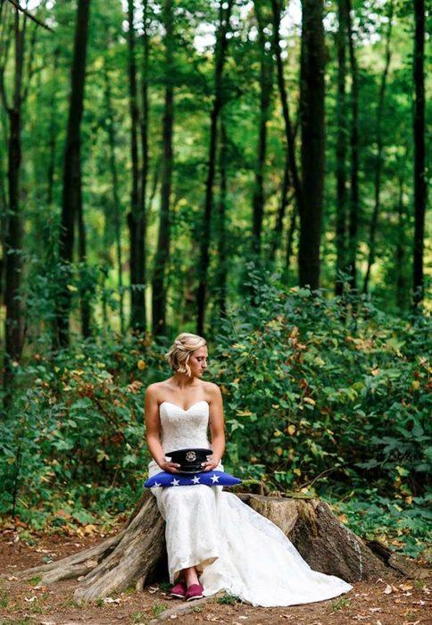 sesión de fotos de novia triste