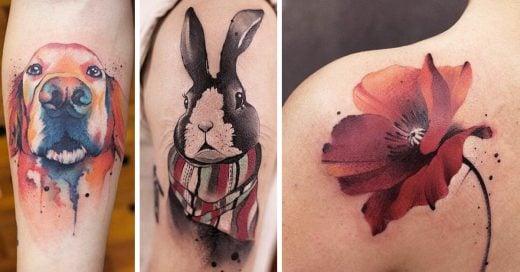 20 Delicados tatuajes que imitan la técnica de la acuarela, perfectos para las chicas delicadas