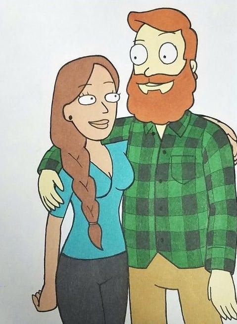 Kells O'Hickey y su novia rick y morty