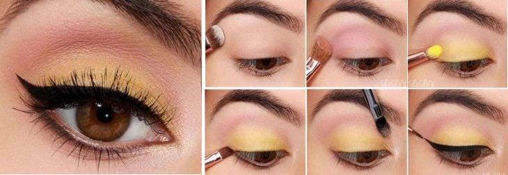 Maquillaje paso a paso Delineado infra verde
