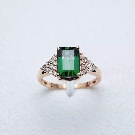 turmalina verde anillo