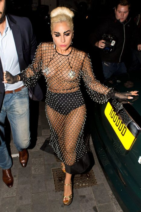 Lady Gaga is seen arriving at Philip Treacy Hat shop, Victoria on June 8, 2015