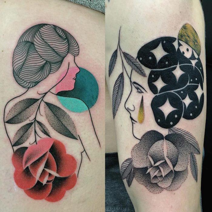 Tatuaje surrealista de mujeres y flores