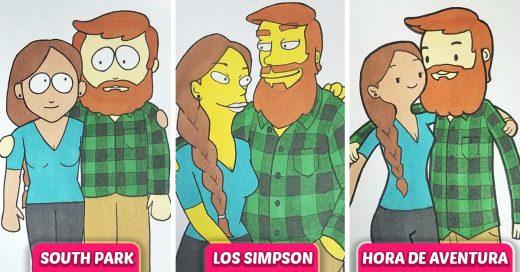 Chico dibuja a su novia en 10 distintos estilos de dibujos animados