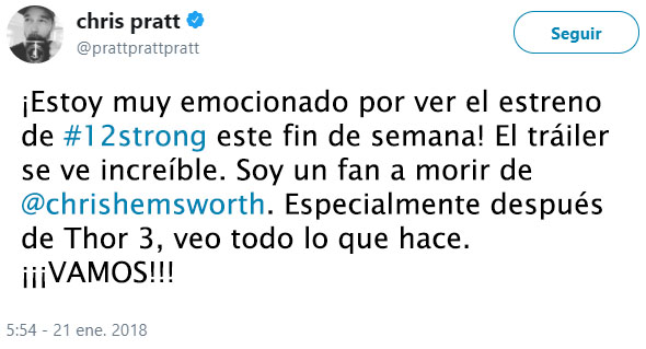 Chris Pratt Tuit sobre Hemsworth
