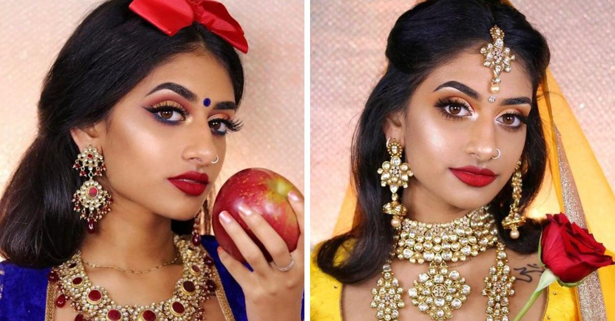 Esta chica imita a las princesas de Disney usando prendas de la India