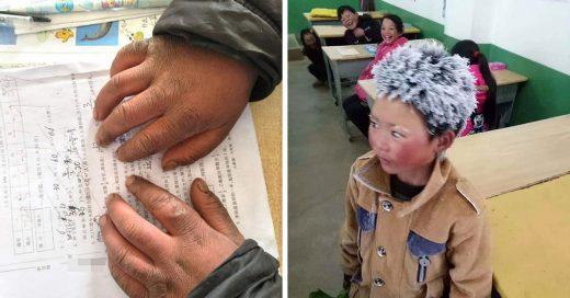 Este niño soporta bajas temperaturas con tal de llegar a su escuela todos los días