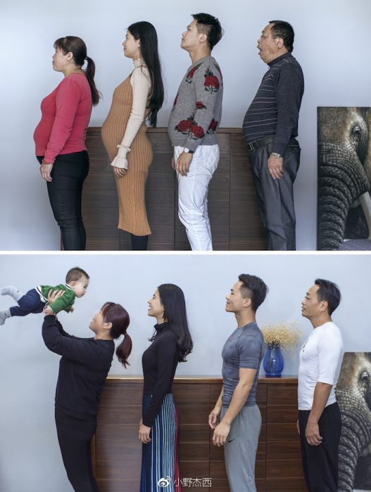 familia posando de perfil