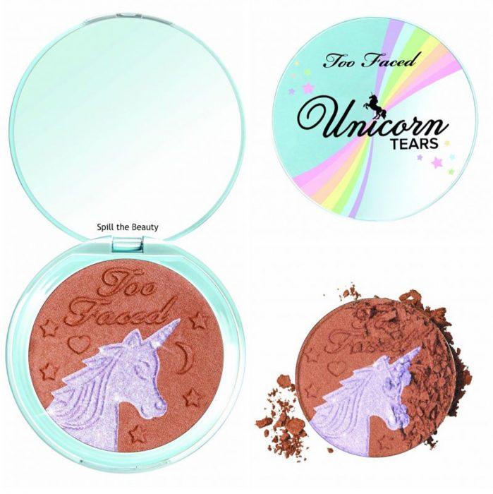 Iluminador y blush que tienen un unicornio impreso