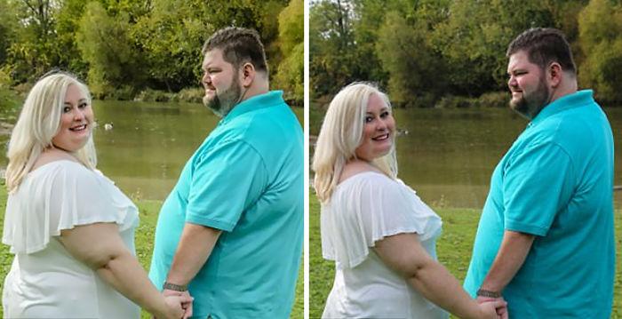 Comparación de la edición de fotos de boda de una chica