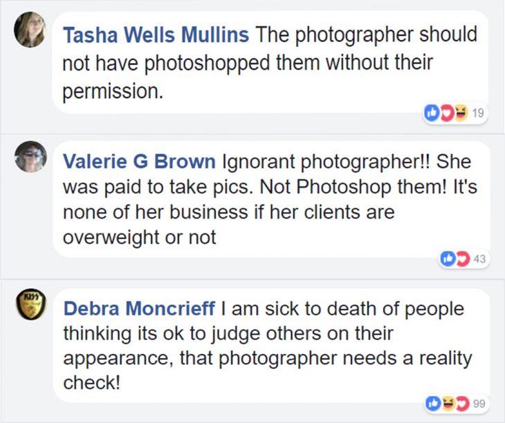 comentarios en facebook sobre una sesión de fotos humillante