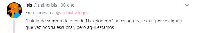 Comentarios en twitter sobre la paleta de sombras de ojos de Nickelodeon