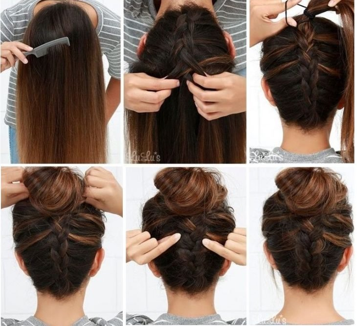 top knot con trenza