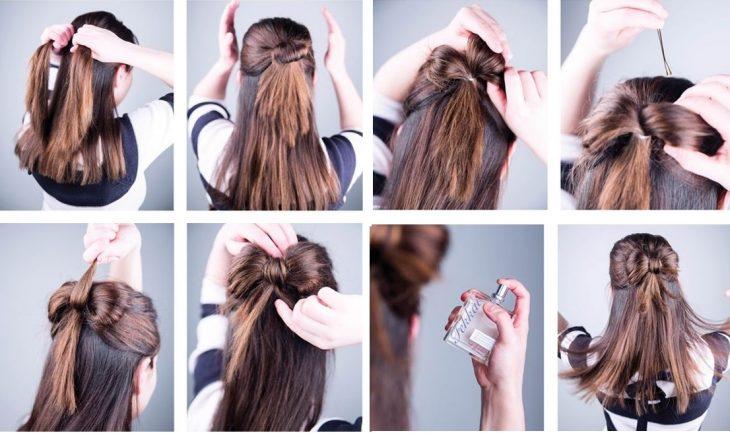 peinado coleta con moño