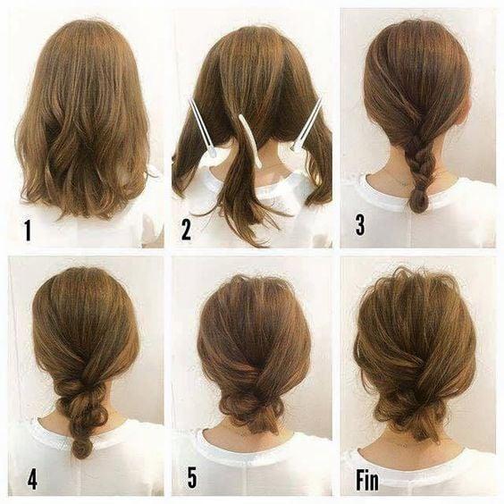 peinado sencillo en cabello corto