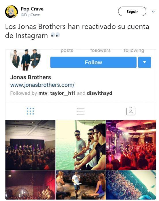 Cuenta de los Jonas Brothers abierta de nuevo