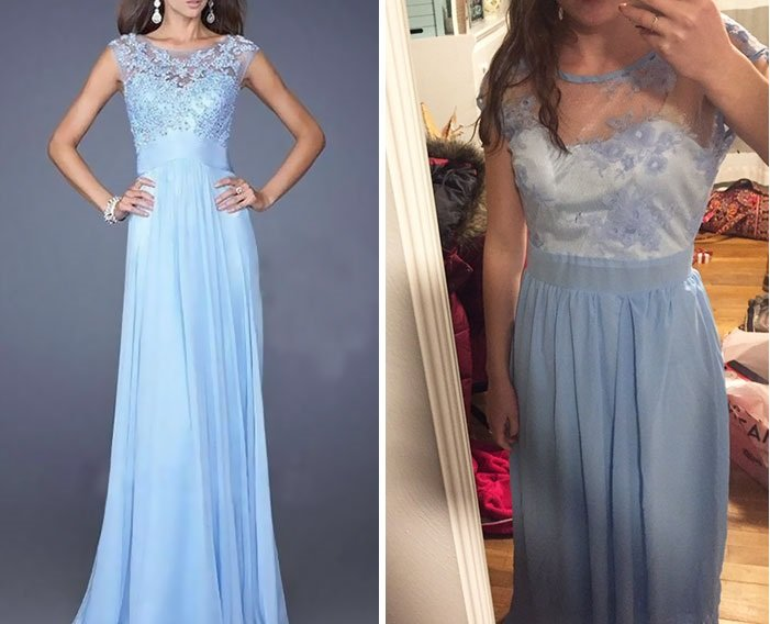 chica con vestido azul