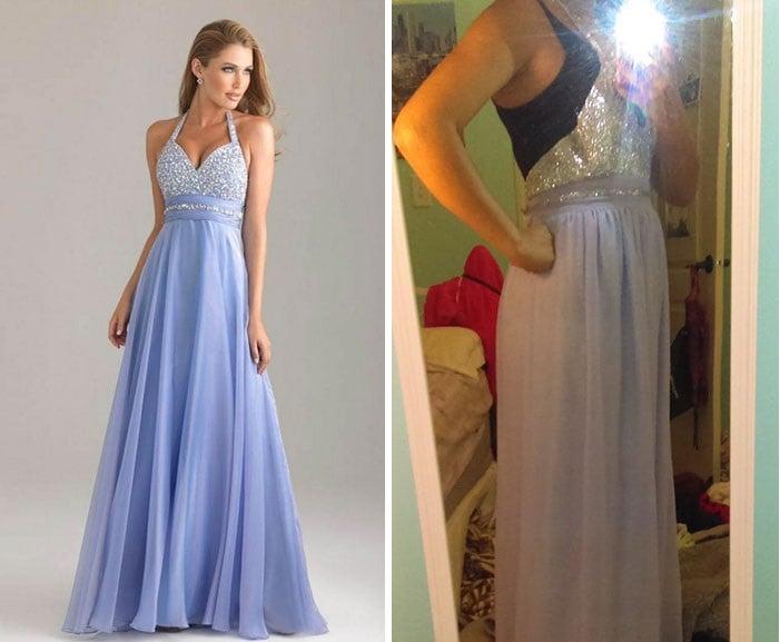 chica modelando un vestido azul cielo