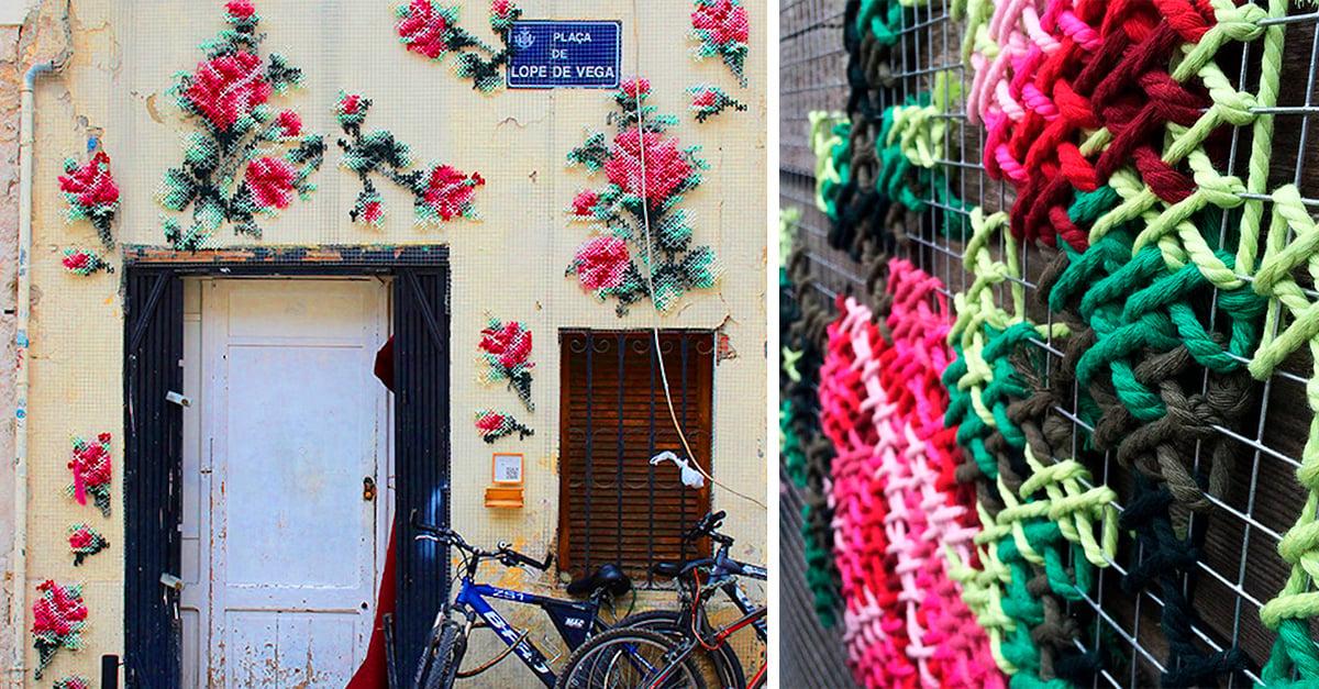 Las calles de Madrid han sido decoradas con flores de crochet, el paisaje es increíble