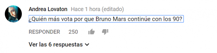 captura de pantalla comentario de youtube