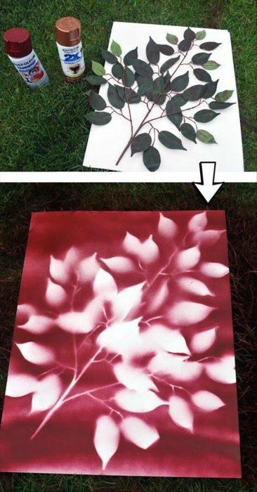 decoración con estenciles de hojas reales