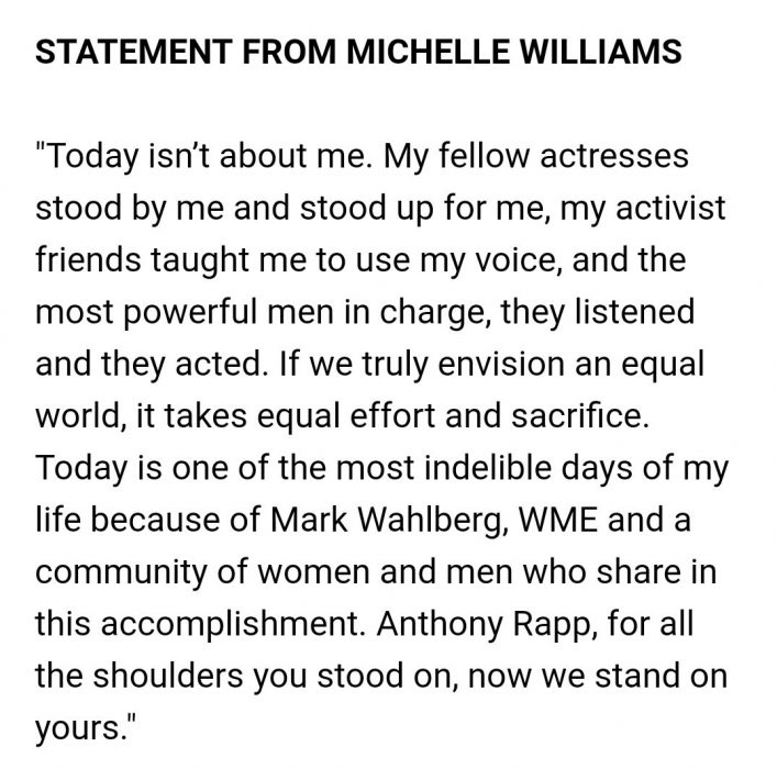 michelle williams comunicado