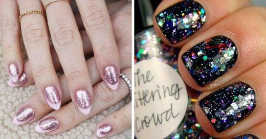 20 Diseños de uñas con glitter para brillar en todas las fiestas