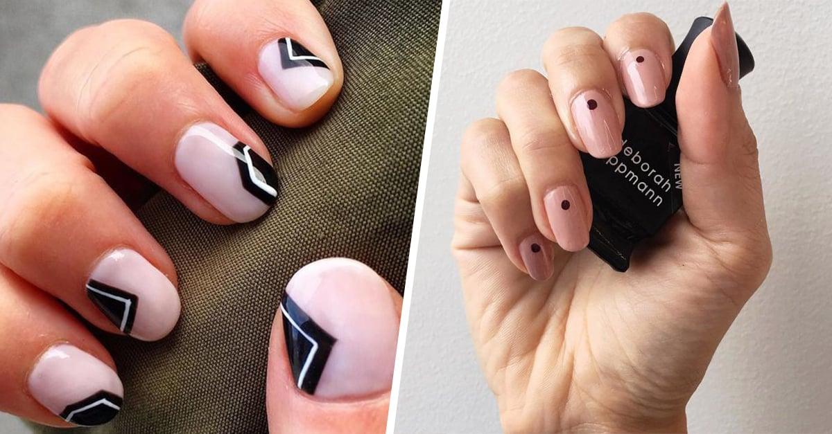 Diseños de uñas en color rosa con líneas negras que te obsesionarán