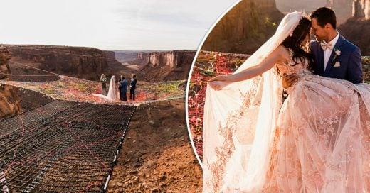 Esta pareja se casó a 120 metros de altura a mitad de desierto y sus fotos son increíbles