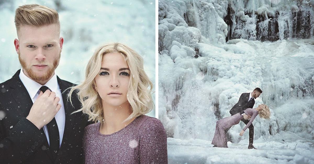 Esta pareja se adentro en el frío para conseguirlas mejores fotos de compromiso; el resultado es increíble