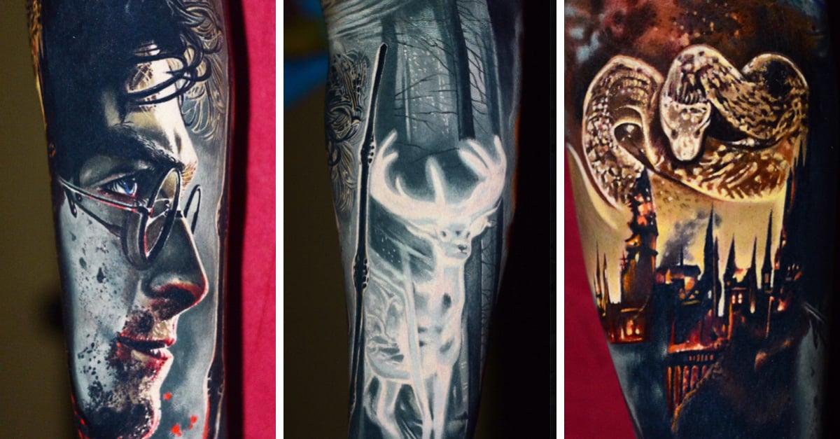 Artista crea el tatuaje más fascinante de Harry Potter con efecto tridimensional