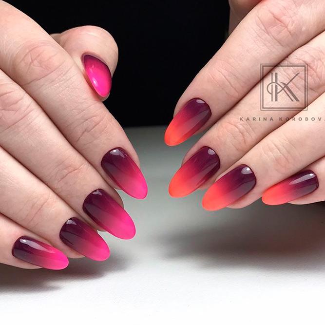 degradado en dos tonalidades de rojo, uñas