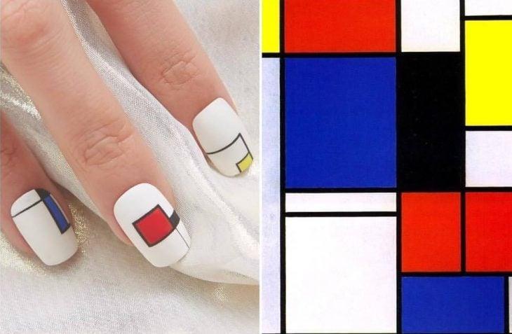 Manicura uñas blancas con cuadros de colores