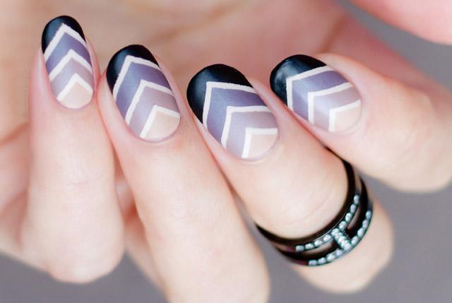 ombre sin difuminar en uñas