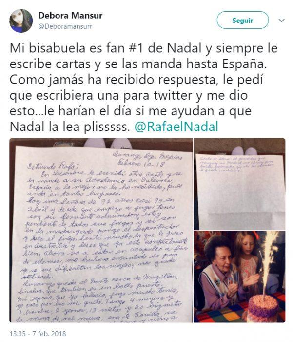 Abuelita recibió respuesta a su carta enviada al tenista Rafael Nadal