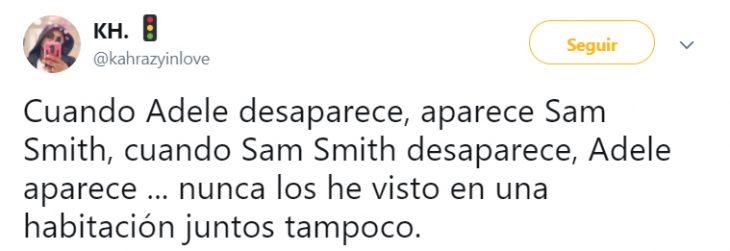 Comentario en twitter que asegura que Adele y sam smith son la misma persona