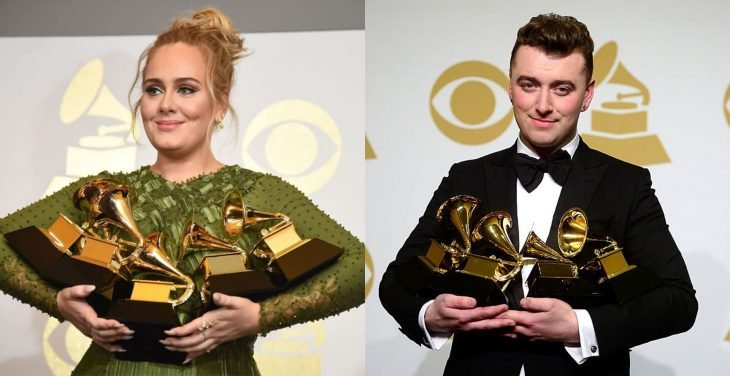 Adele y sam smith recibiendo grammys
