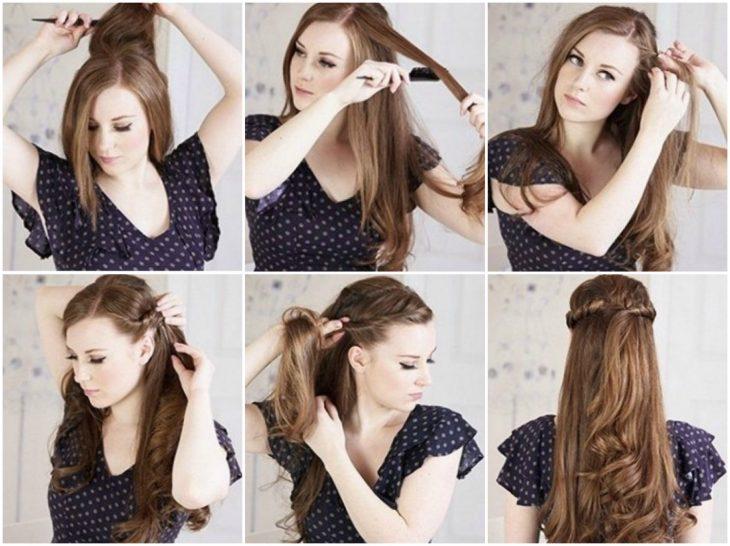 chica peinando en media coleta su cabello