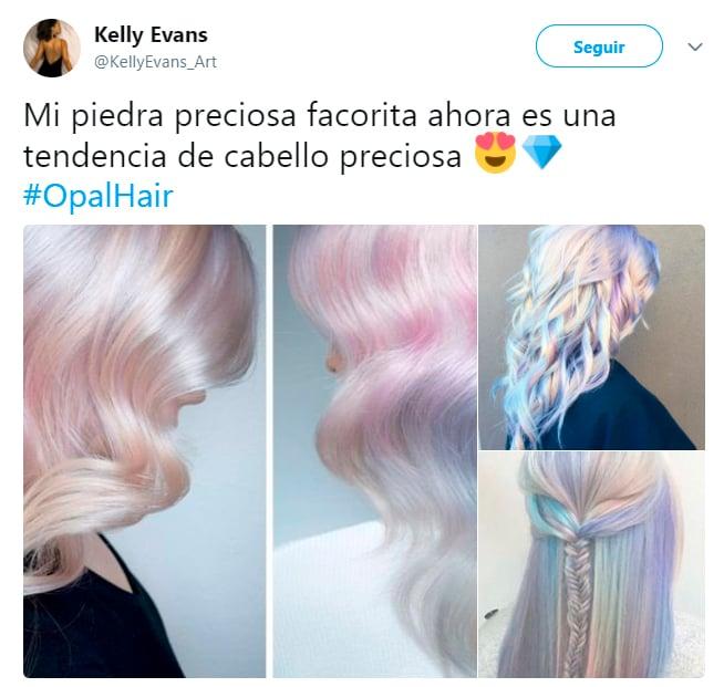 Comentarios en Twitter sobre la nueva tendencia de cabello opal que domina el 2018