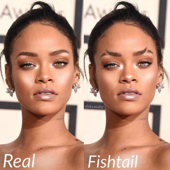 Rihanna usando unas cejas cola de pez