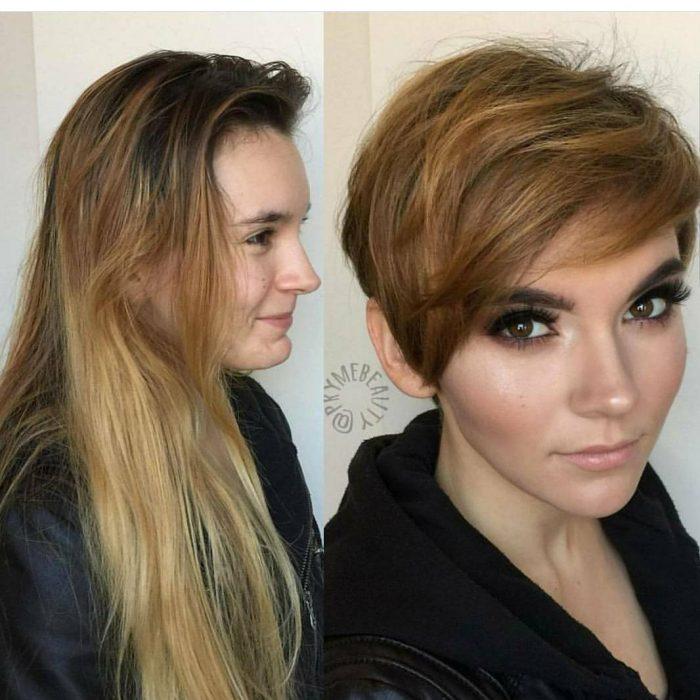 chica mostrando su nuevo corte de cabello