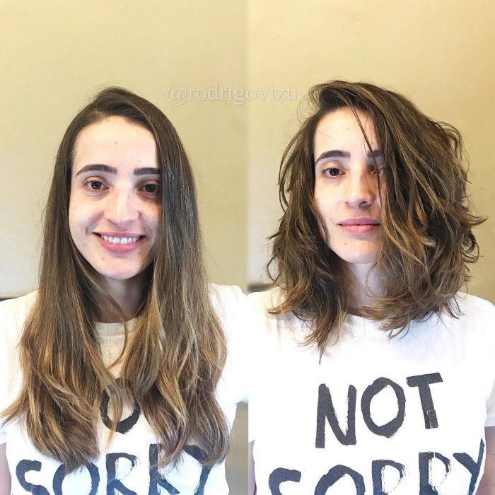 chica con cabello castaño
