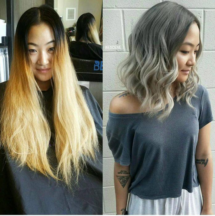 chica con balayage plateado en el cabello