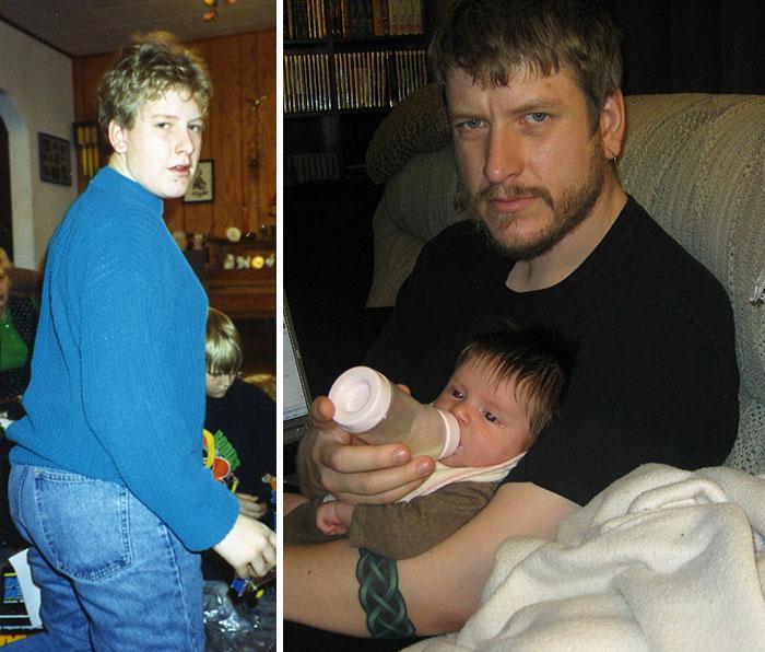 Antes y después de un chico que pasó de ser el patito feo a un sexi hombre de familia
